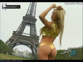 Rocio Guirao Diaz hot ass in golden thong in Paris