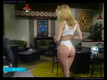 Pilar Masciocchi hot ass in white thong