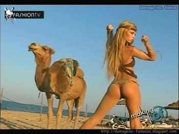 Rocio Guirao Diaz hot ass in thong in the desert backstage