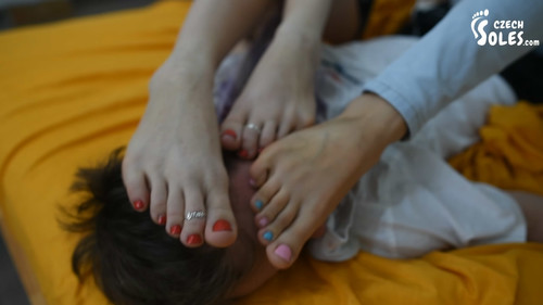 Foot humiliated by two girls