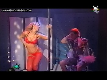 Monica Ayos pole dance in red undies