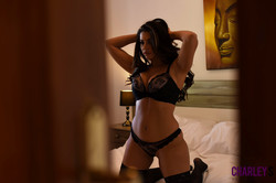 Charley Teasing in Black Lingerie in Bedroom